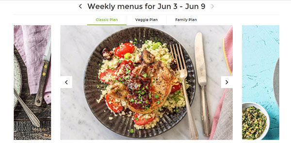 HelloFresh's weekly menus