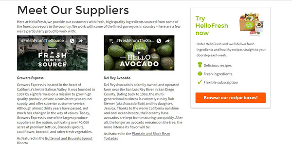 HelloFresh's suppliers