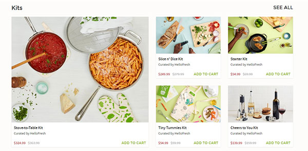 HelloFresh offers meal kits