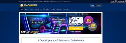 Start playing slots at Cashino