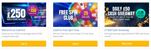 Join the VIP programme today at Cashino. Also take advantage of some fantastic promotions
