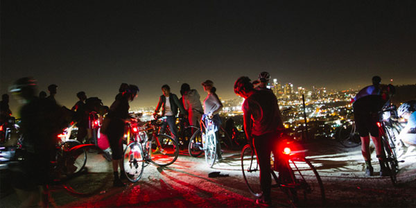 Mature singles in Los Angeles night biking