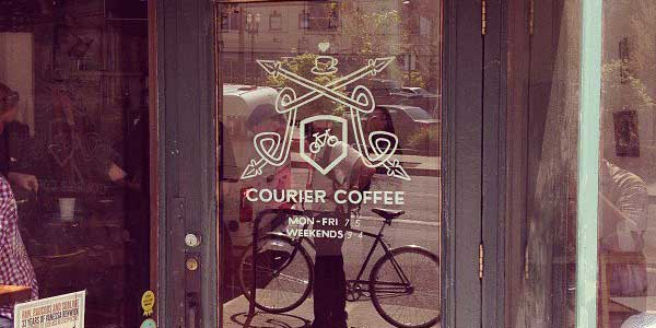 Mature Portland singles biking with coffee
