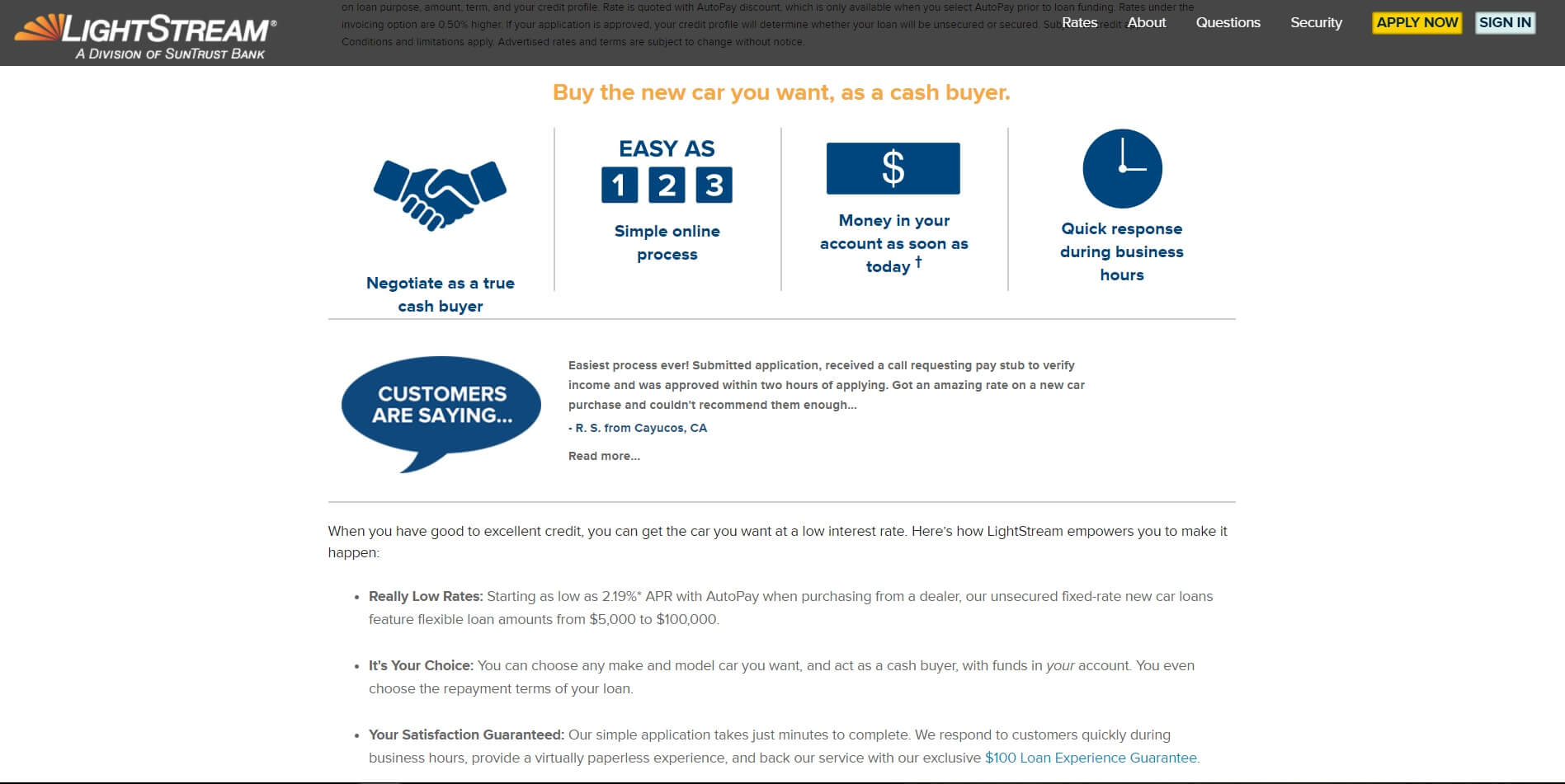 Lightstream Car Loan Reviews