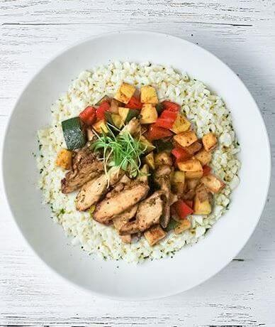 Chili Lime Chicken on Rice (with fajita vegetables)